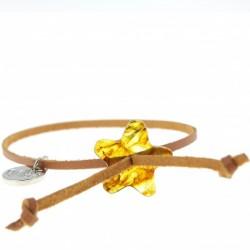 Bracelet adulte Ambre et cuir