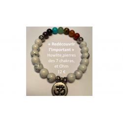 Bracelet Howlite 7 chakras et Ohm