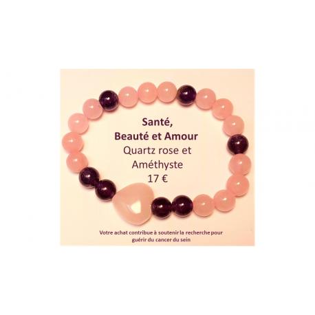 bracelet Quartz rose et Améthyste
