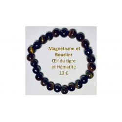 Bracelet Magnétique Oeil du tigre et hématite